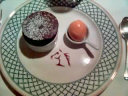 The Plumed Horse dark chocolate souffle with apricot sorbet